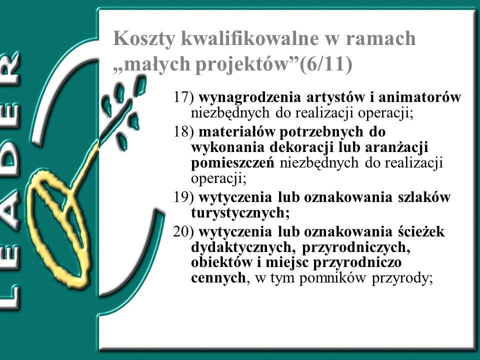 """Koszty kwalifikowalne w ramach """"małych projektów (6/11)"""