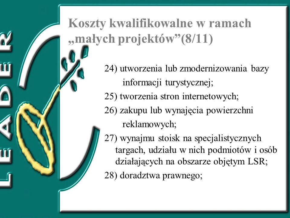 """Koszty kwalifikowalne w ramach """"małych projektów (8/11)"""