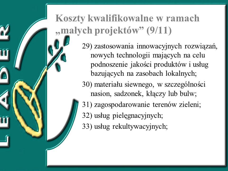 """Koszty kwalifikowalne w ramach """"małych projektów (9/11)"""