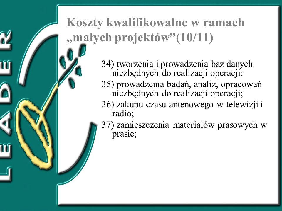 """Koszty kwalifikowalne w ramach """"małych projektów (10/11)"""