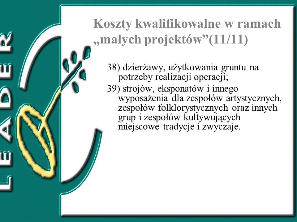 """Koszty kwalifikowalne w ramach """"małych projektów (11/11)"""