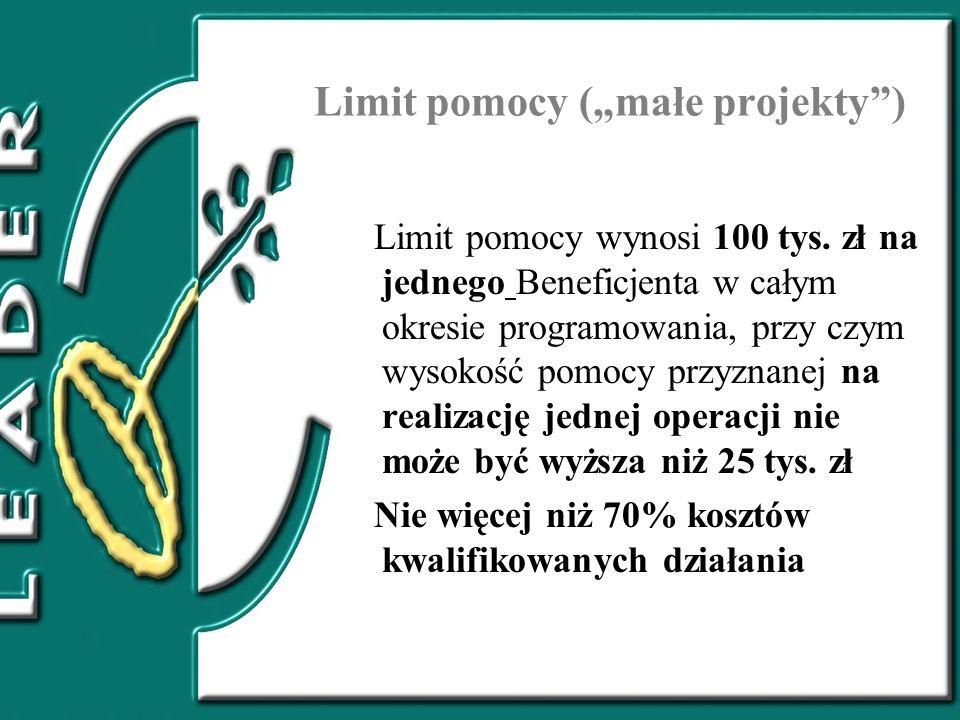 """Limit pomocy (""""małe projekty )"""
