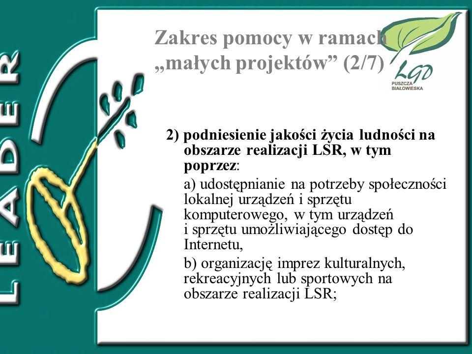"""Zakres pomocy w ramach """"małych projektów (2/7)"""