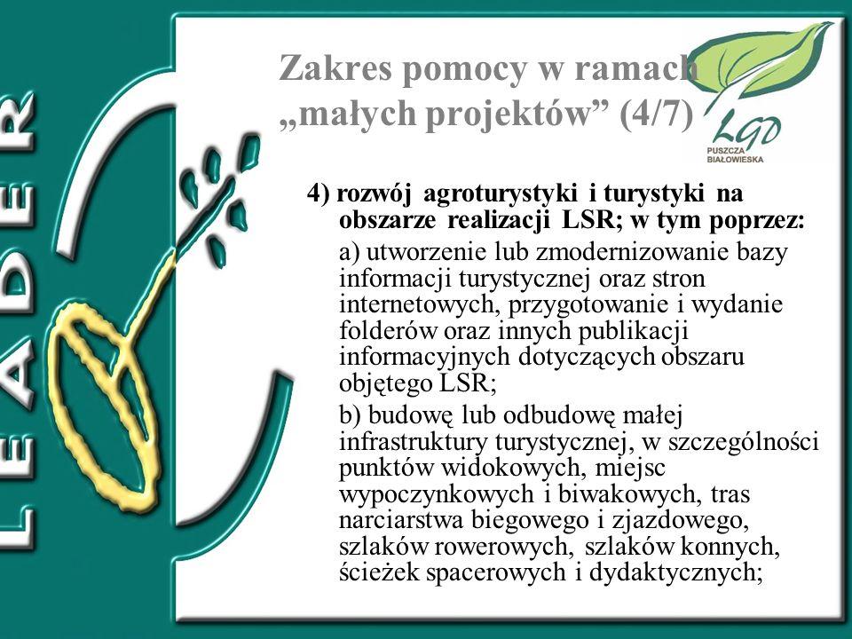 """Zakres pomocy w ramach """"małych projektów (4/7)"""