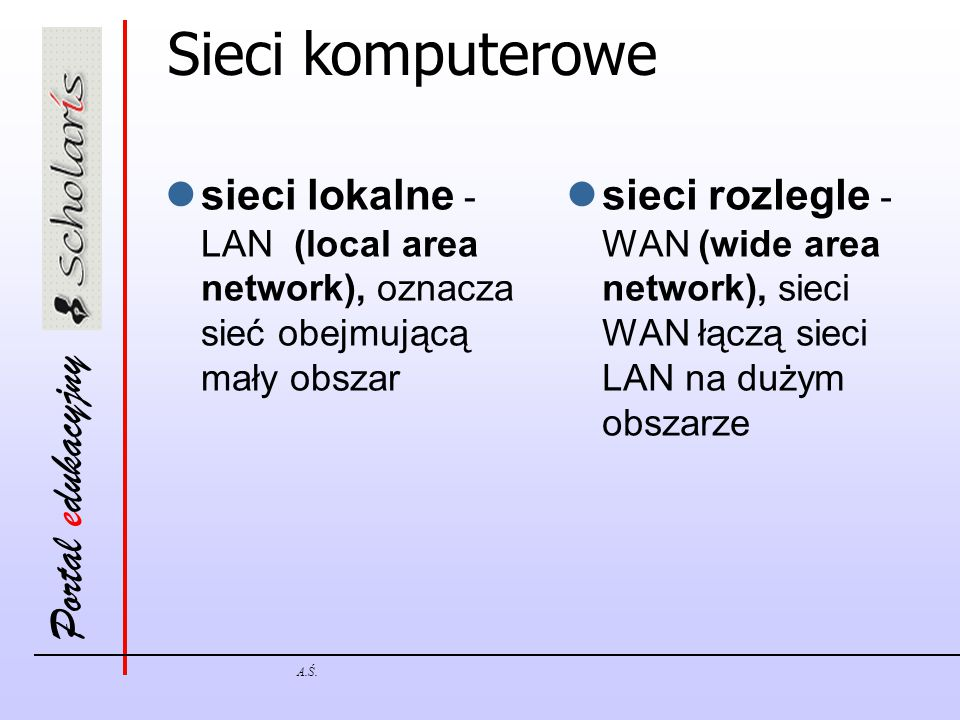 Sieci komputerowe sieci lokalne - LAN (local area network), oznacza sieć obejmującą mały obszar.