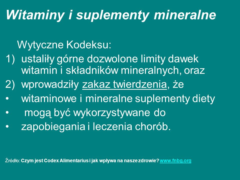 Witaminy i suplementy mineralne