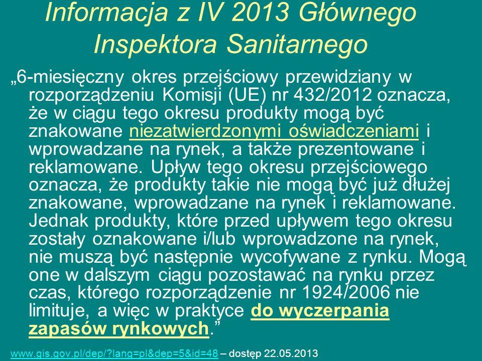 Informacja z IV 2013 Głównego Inspektora Sanitarnego