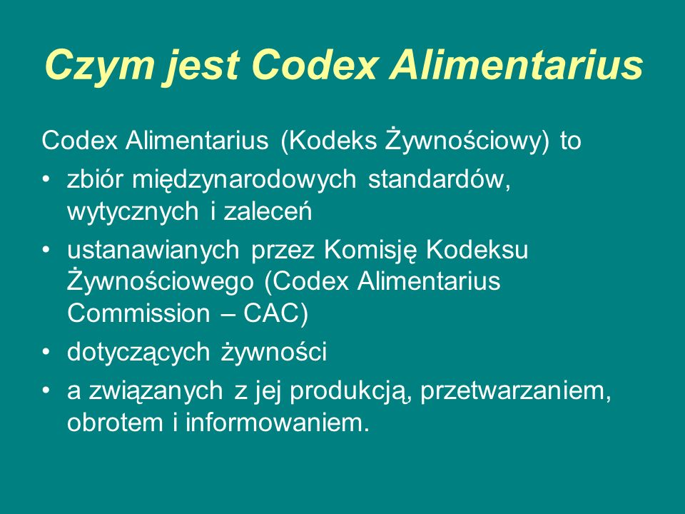 Czym jest Codex Alimentarius