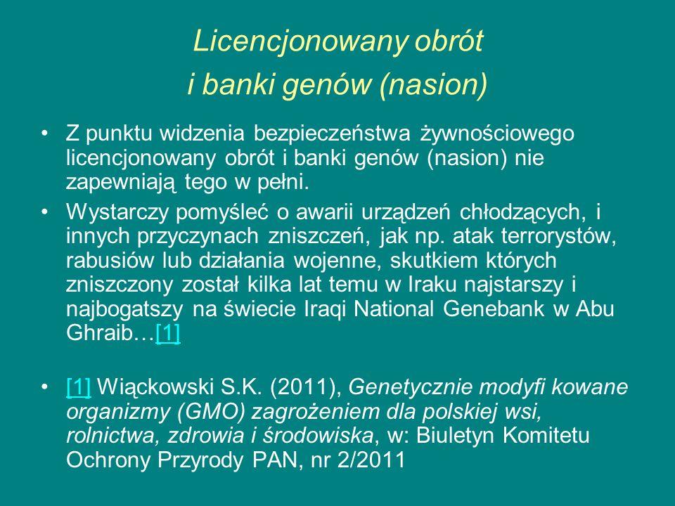 Licencjonowany obrót i banki genów (nasion)