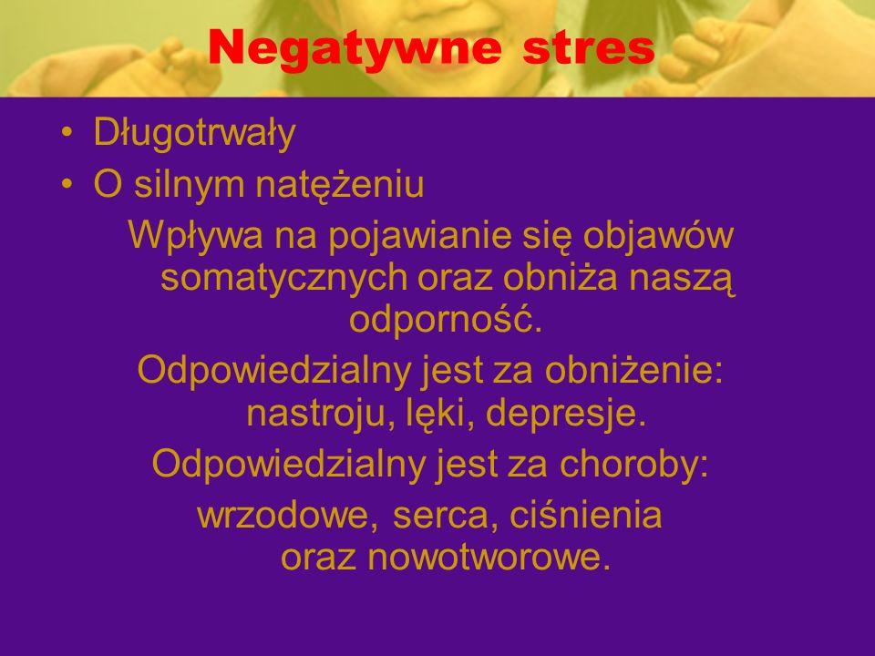 Negatywne stres Długotrwały O silnym natężeniu