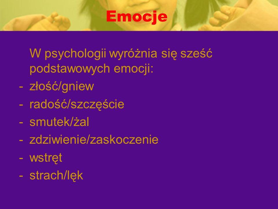 Emocje W psychologii wyróżnia się sześć podstawowych emocji: