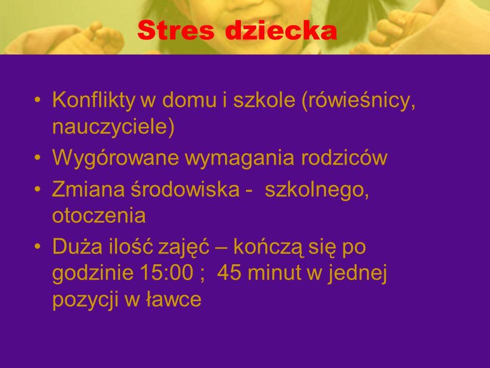 Stres dziecka Konflikty w domu i szkole (rówieśnicy, nauczyciele)