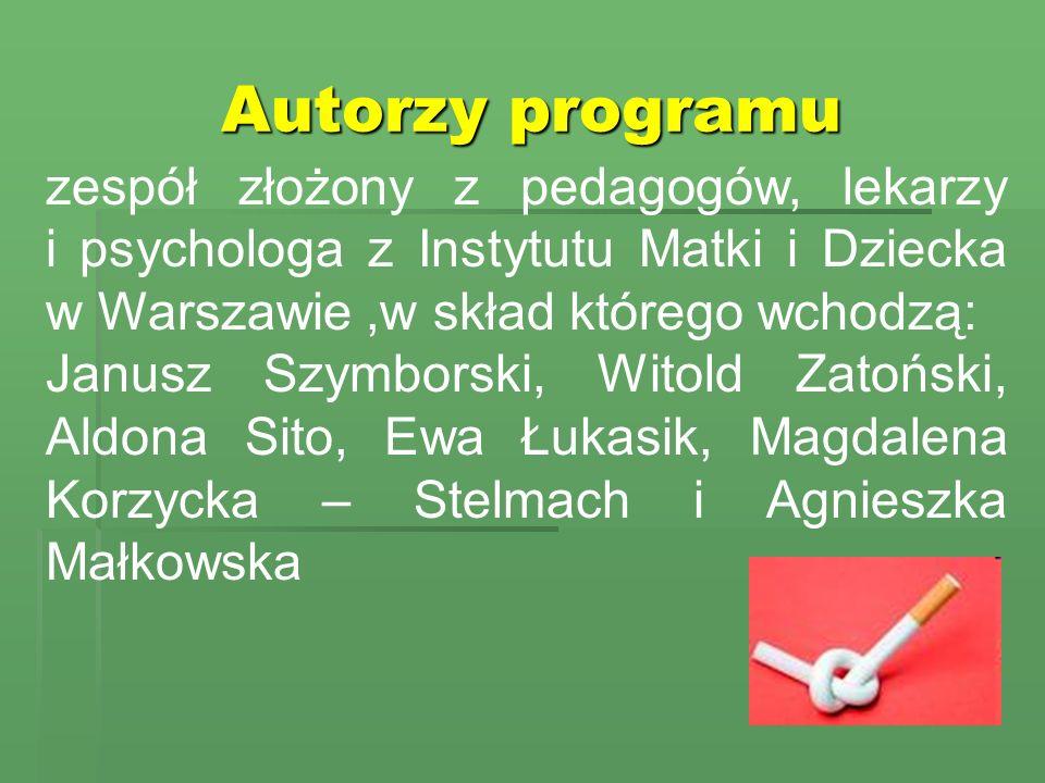 Autorzy programu zespół złożony z pedagogów, lekarzy i psychologa z Instytutu Matki i Dziecka w Warszawie ,w skład którego wchodzą: