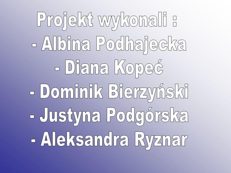 Projekt wykonali : - Albina Podhajecka. - Diana Kopeć. - Dominik Bierzyński. - Justyna Podgórska.
