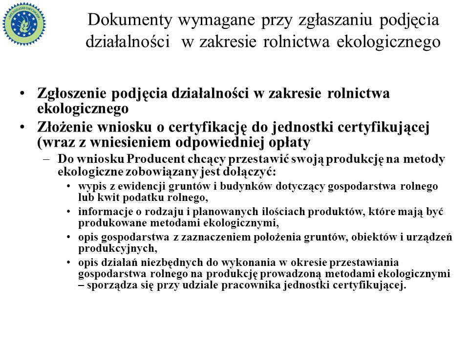 Dokumenty wymagane przy zgłaszaniu podjęcia działalności w zakresie rolnictwa ekologicznego