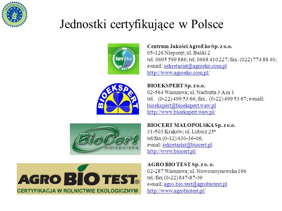 Jednostki certyfikujące w Polsce