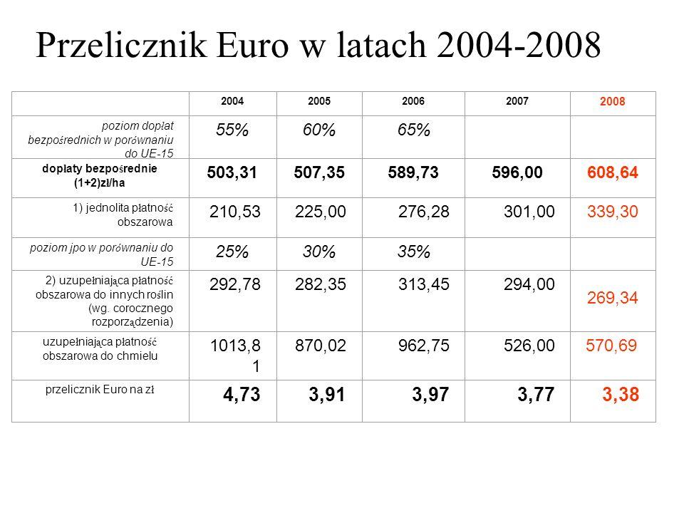 Przelicznik Euro w latach 2004-2008