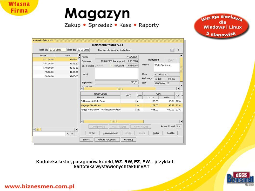 Kartoteka faktur, paragonów, korekt, WZ, RW, PZ, PW – przykład wystawione faktury VAT