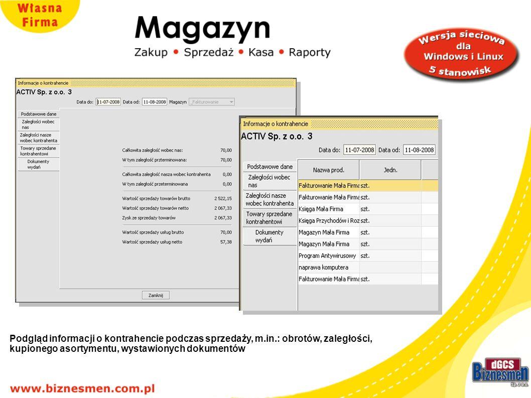 Podgląd informacji o kontrahencie podczas sprzedaży, m. in