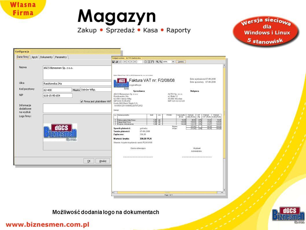 możliwość dodania logo na dokumentach