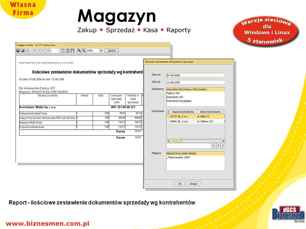 Raport 0 ilościowe zestawienie dokumentów sprzedaży wg kontrahentów