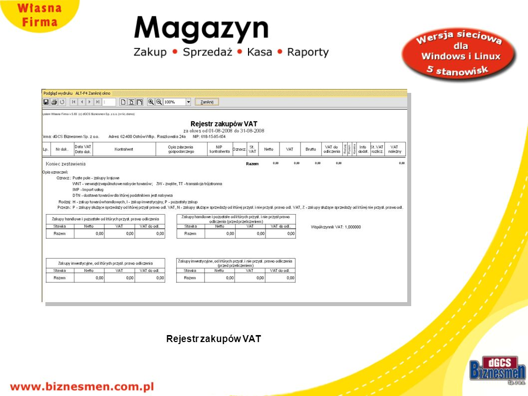 Rejestr zakupów VAT Rejestr zakupów VAT