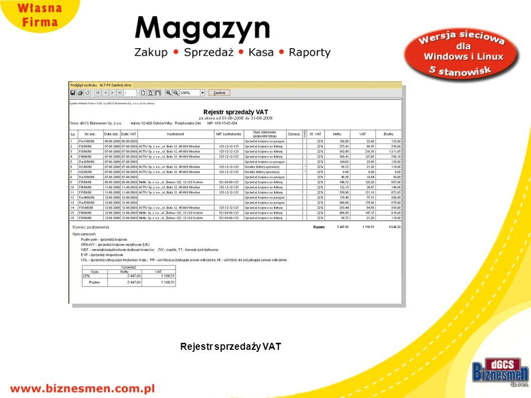 Rejestr sprzedaży VAT Rejestr sprzedaży VAT