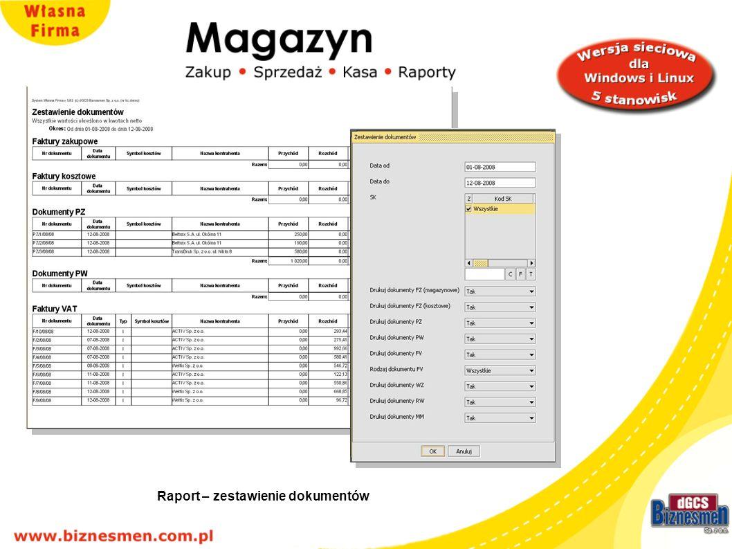 Raport – zestawienie dokumentów