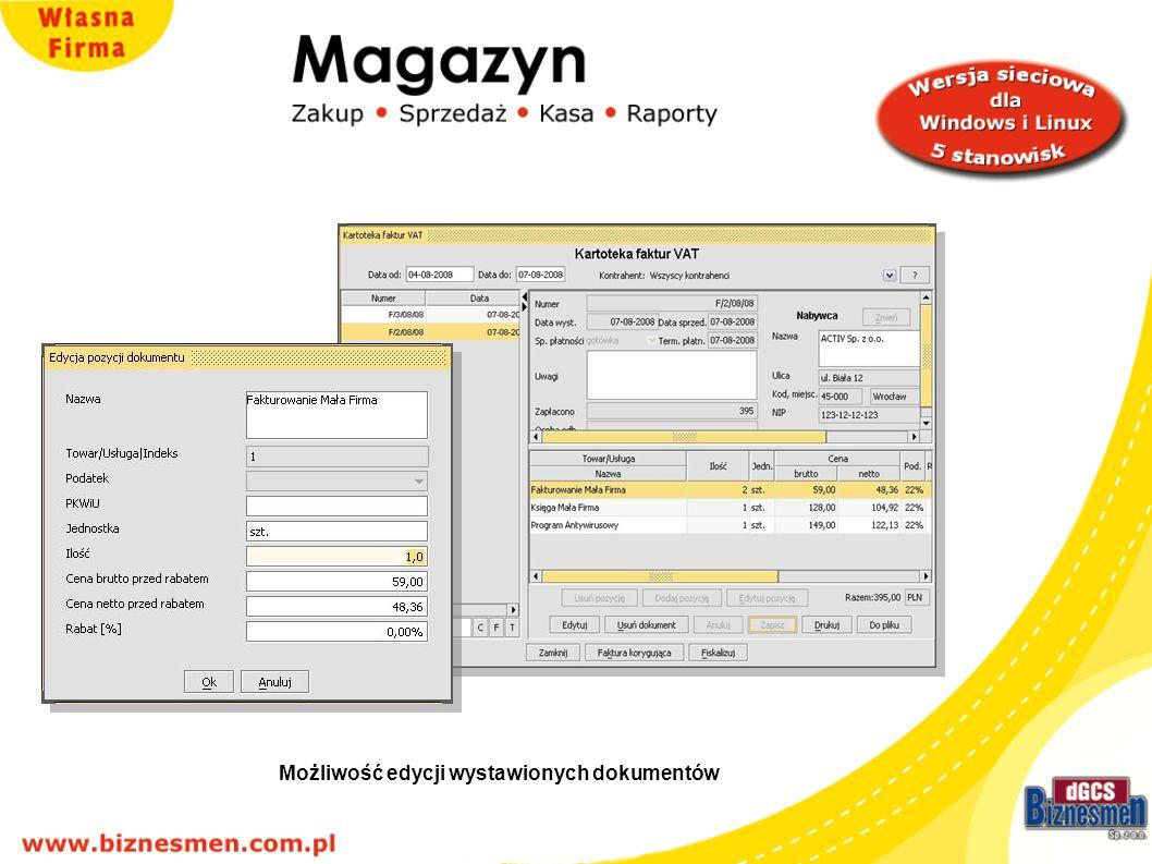 Możliwość edycji wystawionych dokumentów