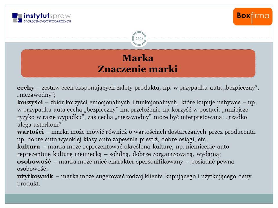 """Marka Znaczenie marki. cechy – zestaw cech eksponujących zalety produktu, np. w przypadku auta """"bezpieczny , """"niezawodny ;"""