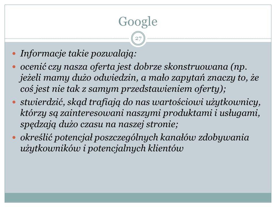 Google Informacje takie pozwalają:
