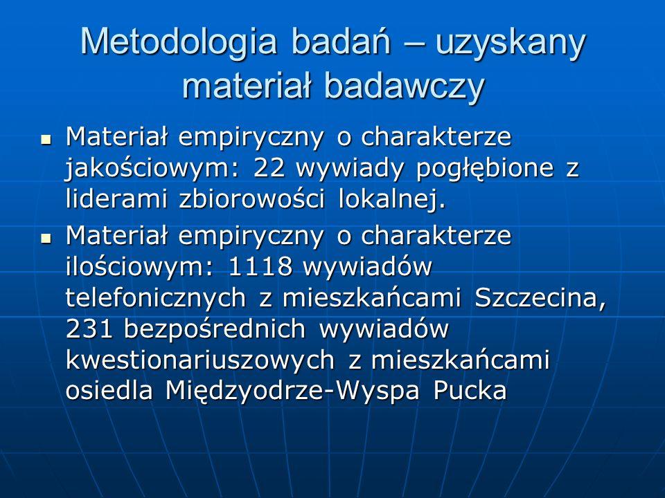Metodologia badań – uzyskany materiał badawczy