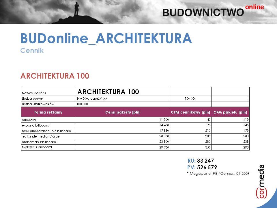 BUDonline_ARCHITEKTURA Cennik ARCHITEKTURA 100