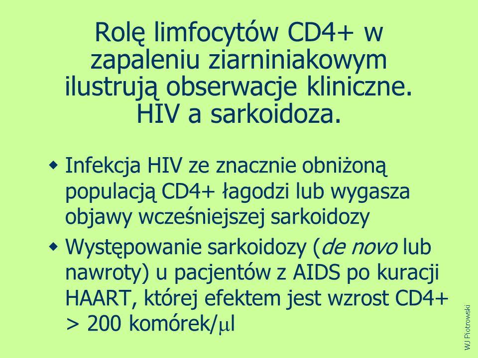 Rolę limfocytów CD4+ w zapaleniu ziarniniakowym ilustrują obserwacje kliniczne. HIV a sarkoidoza.