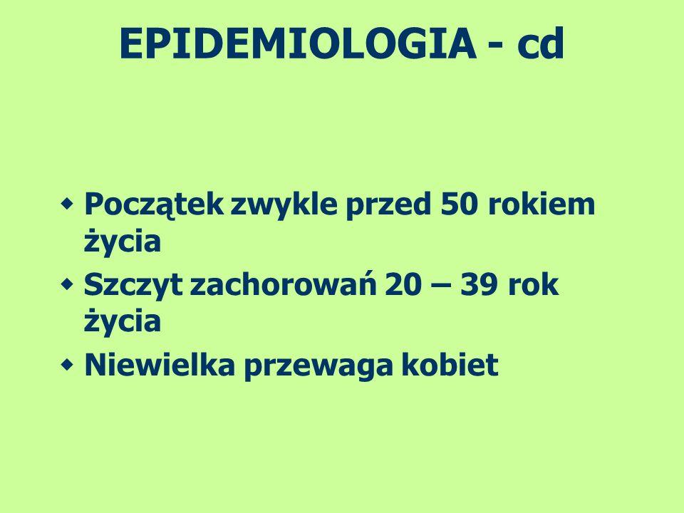 EPIDEMIOLOGIA - cd Początek zwykle przed 50 rokiem życia