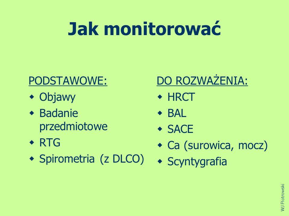 Jak monitorować PODSTAWOWE: Objawy Badanie przedmiotowe RTG