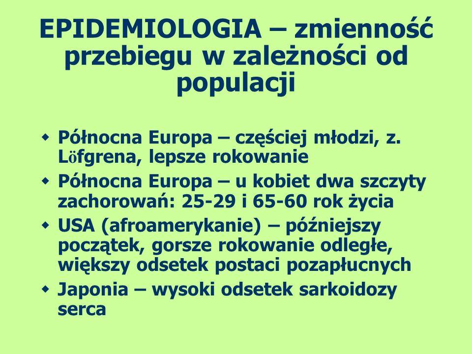 EPIDEMIOLOGIA – zmienność przebiegu w zależności od populacji