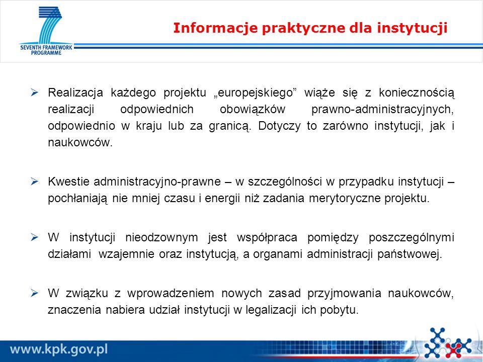 Informacje praktyczne dla instytucji
