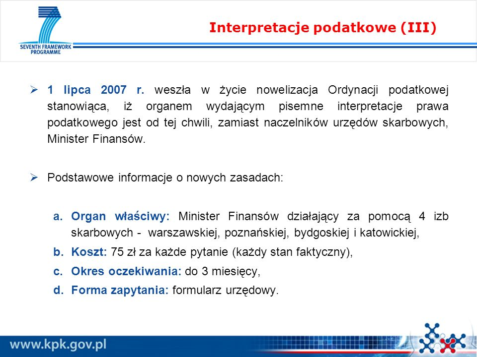 Interpretacje podatkowe (III)