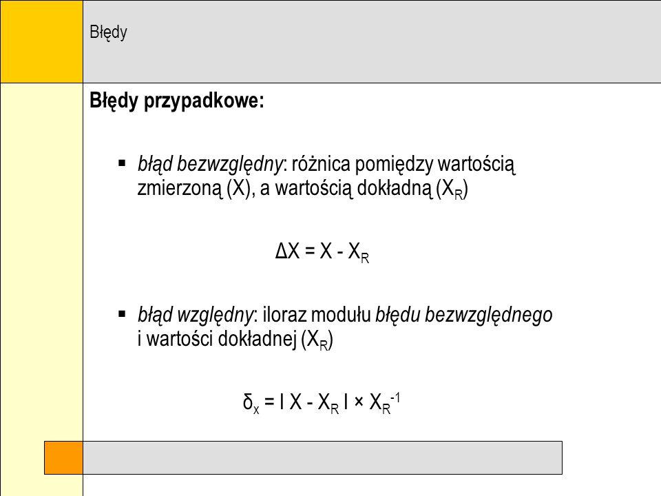 Błędy Błędy przypadkowe: błąd bezwzględny: różnica pomiędzy wartością zmierzoną (X), a wartością dokładną (XR)
