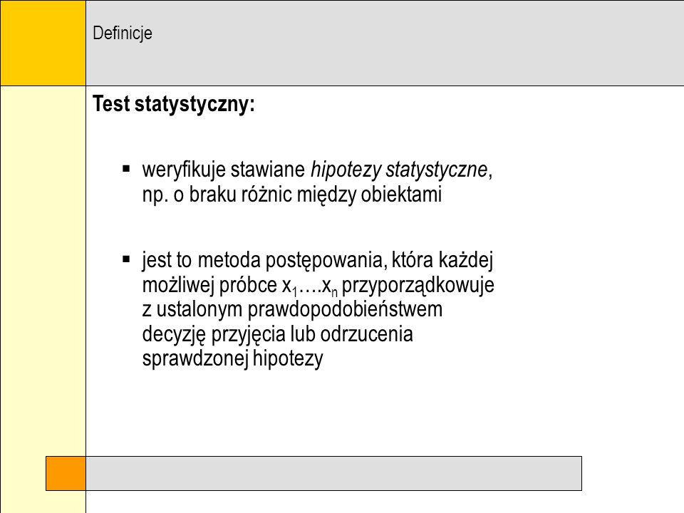 Definicje Test statystyczny: weryfikuje stawiane hipotezy statystyczne, np. o braku różnic między obiektami.