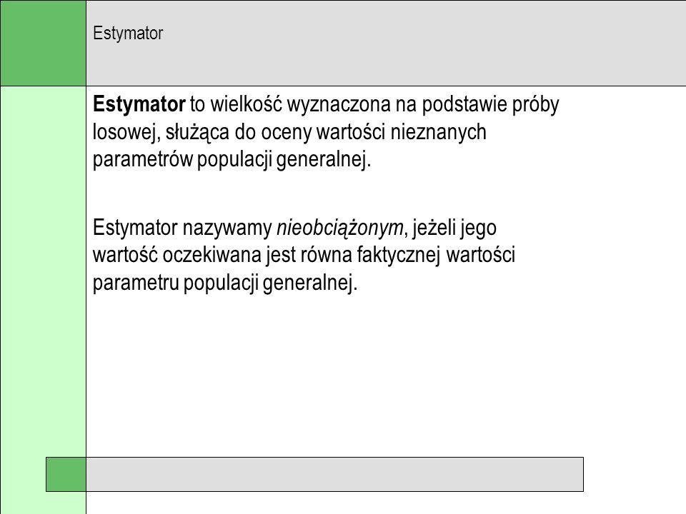 Estymator Estymator to wielkość wyznaczona na podstawie próby losowej, służąca do oceny wartości nieznanych parametrów populacji generalnej.