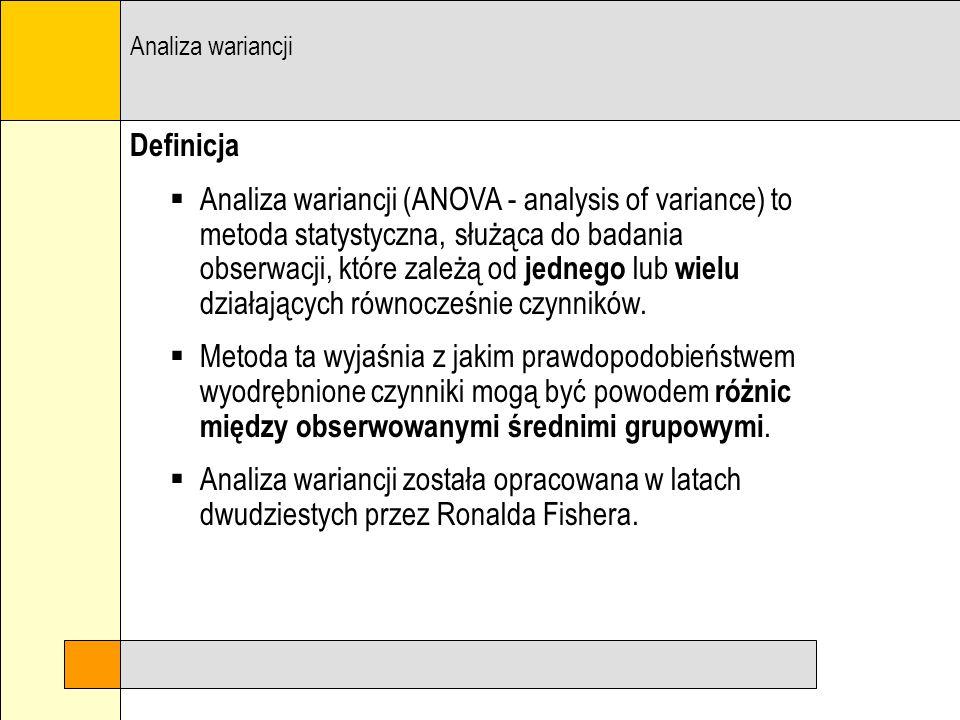 Analiza wariancji Definicja.