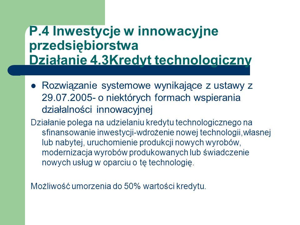 P. 4 Inwestycje w innowacyjne przedsiębiorstwa Działanie 4