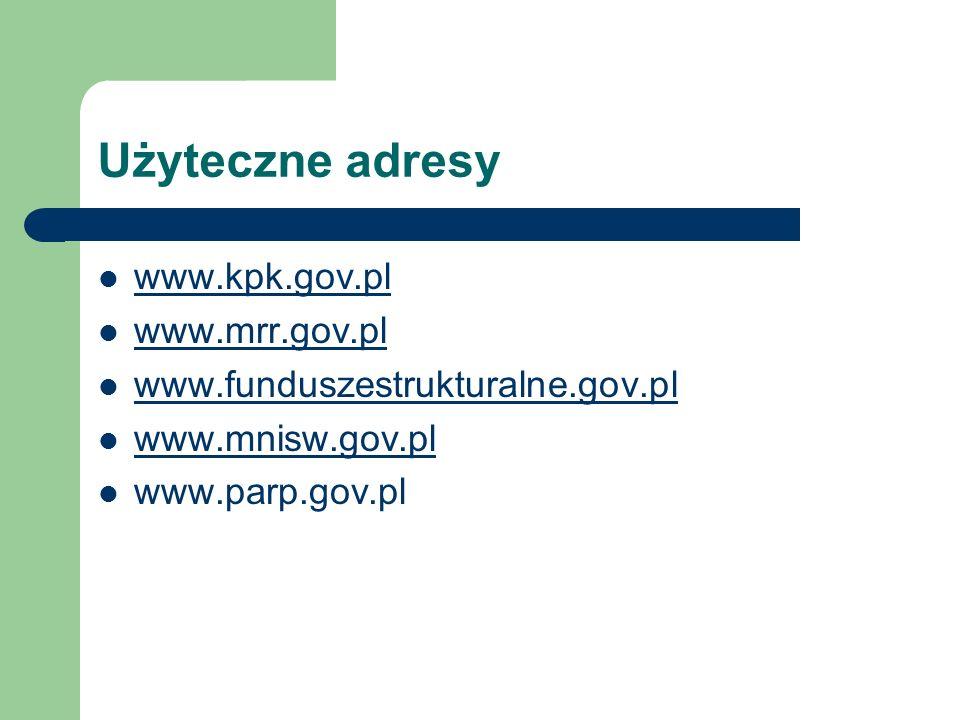 Użyteczne adresy www.kpk.gov.pl www.mrr.gov.pl
