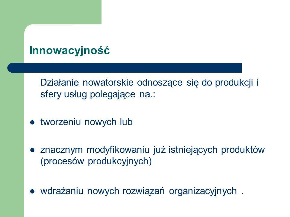 Innowacyjność Działanie nowatorskie odnoszące się do produkcji i sfery usług polegające na.: tworzeniu nowych lub.