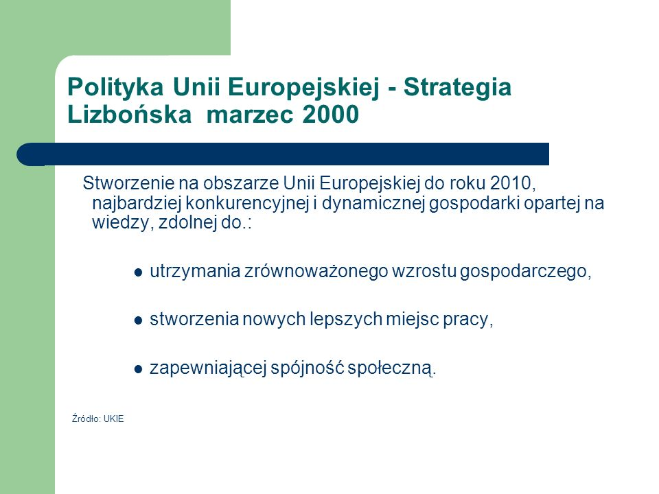 Polityka Unii Europejskiej - Strategia Lizbońska marzec 2000
