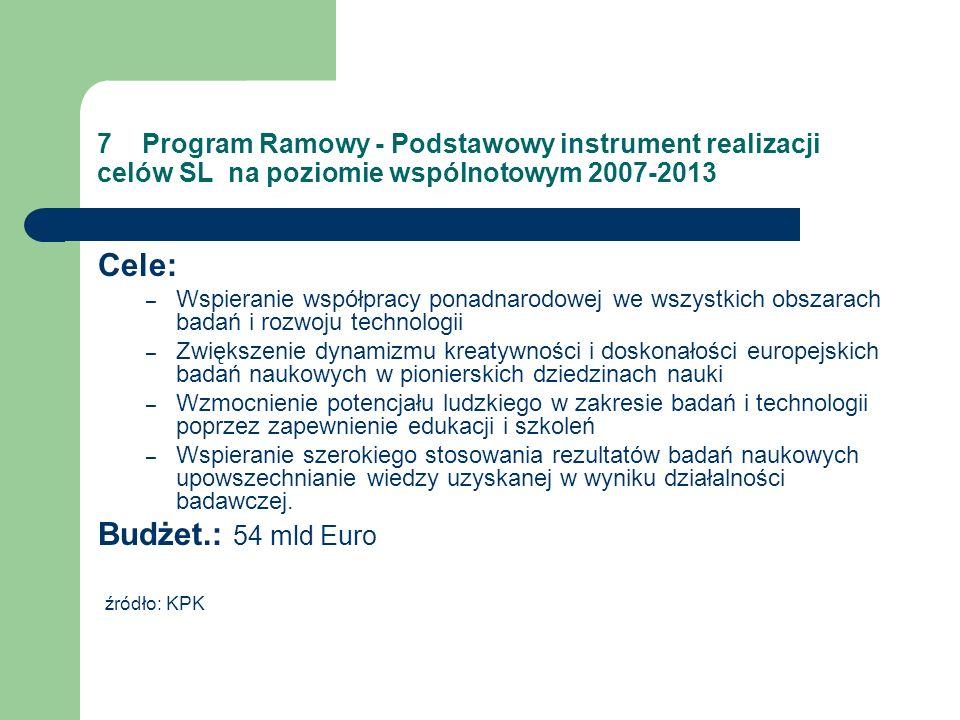 7 Program Ramowy - Podstawowy instrument realizacji celów SL na poziomie wspólnotowym 2007-2013