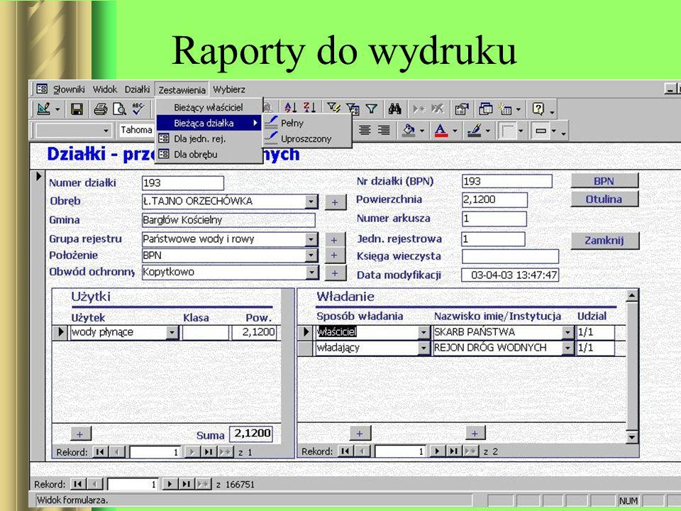 Raporty do wydruku