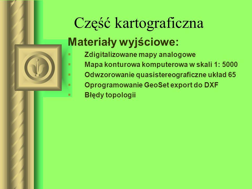 Część kartograficzna Materiały wyjściowe: